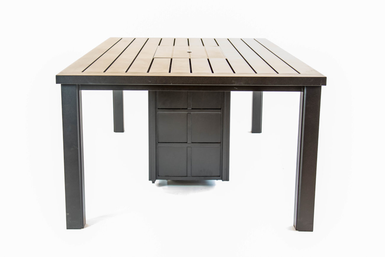 Picture of: Hanamint Sherwood Aluminum 47 X 84 Gas Firepit Dining Table Premium Patio